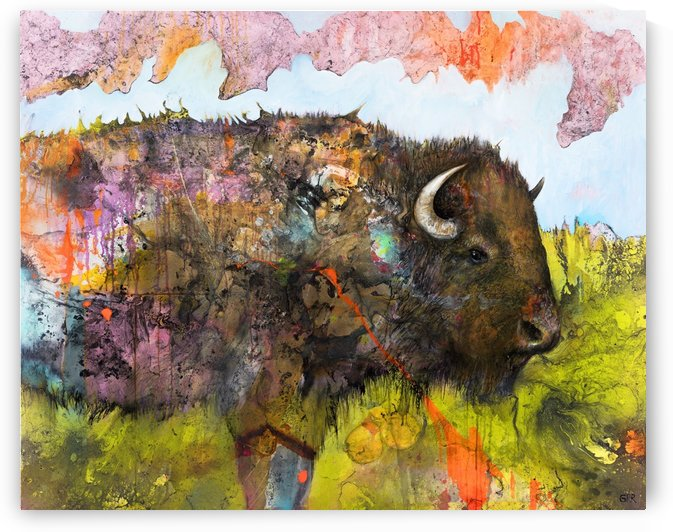Illustration of a buffalo with colourful splashes and landscape by PacificStock