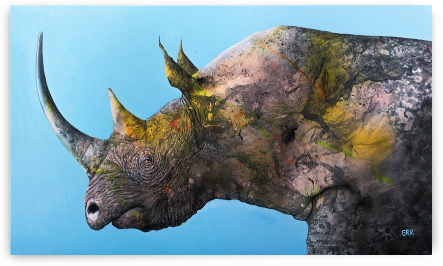 Illustration of a white rhinoceros against a blue background by PacificStock