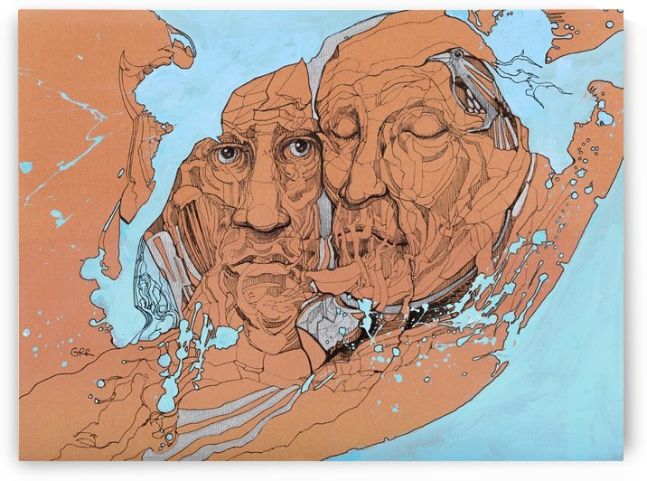 Illustration of two male faces and an abstract blue and brown background by PacificStock