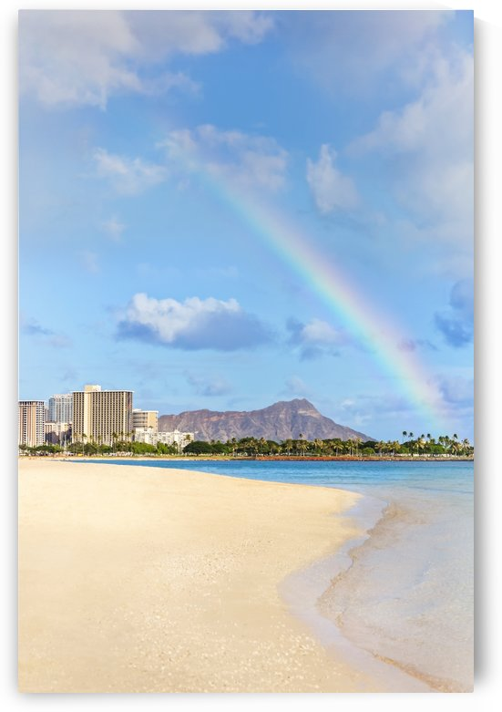 View of Waikiki beach and Diamond Head crater at Ala Moana Beach Park with a rainbow overhead; Honolulu, Oahu, Hawaii, United States of America by PacificStock