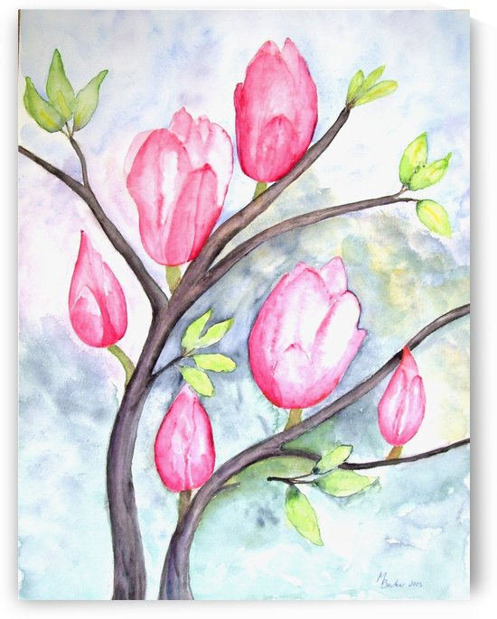Pink Magnolias On Pastel Blue by Joy of Life