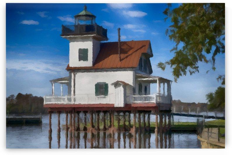 Roanoke River Lighthouse North Carolina by David Dehner