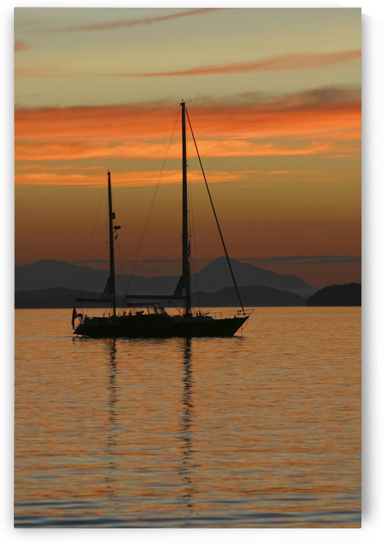 A Sailboat Is Anchored For The Night In The Gulf Islands Of British Columbia, Sunset, Canada, Summer by PacificStock