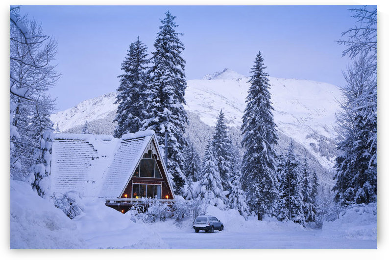 Scenic Winter View Of An A-Frame Home With The Chugach Mountains In The Background, Girdwood, Southcentral Alaska by PacificStock
