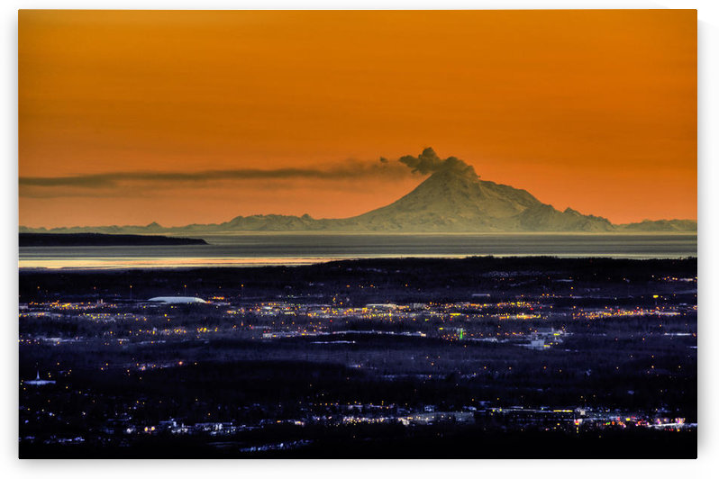 View Of The Anchorage Skyline At Sunset With Mount Redoubt Erupting In The Background, Southcentral Alaska Spring by PacificStock