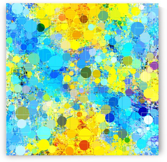 psychedelic geometric circle pattern and square pattern abstract in yellow and blue by TimmyLA