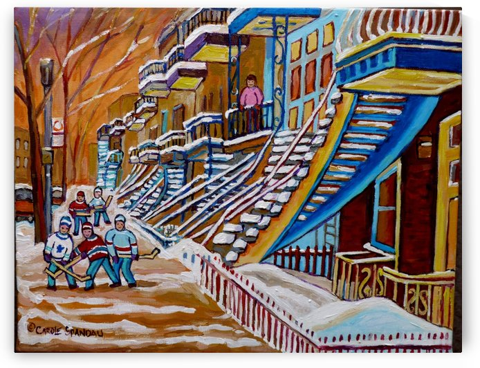 MONTREAL WINTER SCENE HOCKEY GAME NEAR THE BLUE STAIRCASE by Carole  Spandau
