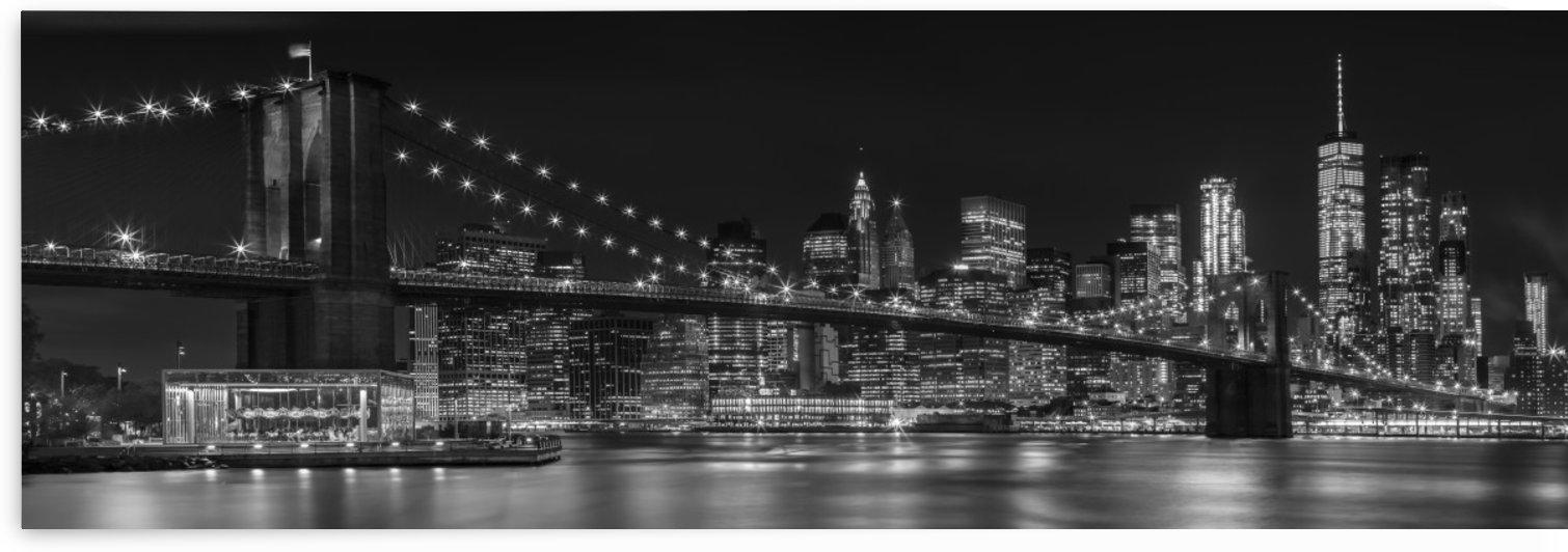 MANHATTAN SKYLINE & BROOKLYN BRIDGE Nightly Impressions   Panoramic Monochrome by Melanie Viola