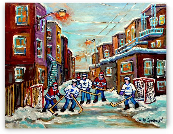 BACKLANE HOCKEY  MONTREAL WINTER SCENE by Carole  Spandau