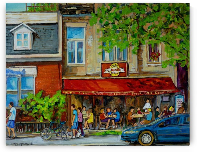 CAFE ST DENIS MONTREAL SUMMER SCENE by Carole  Spandau