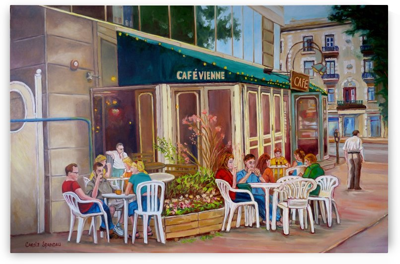 CAFE VIENNE MONTREAL SUMMER SCENE by Carole  Spandau
