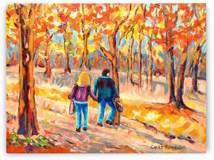 COUPLE WALKS ON MONT ROYAL PARK IN MONTREAL by Carole  Spandau