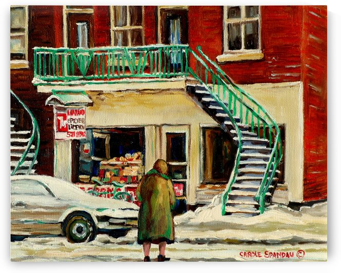DEPANNEUR WITH ELDERLY LADY MONTREAL WINTER SCENE by Carole  Spandau
