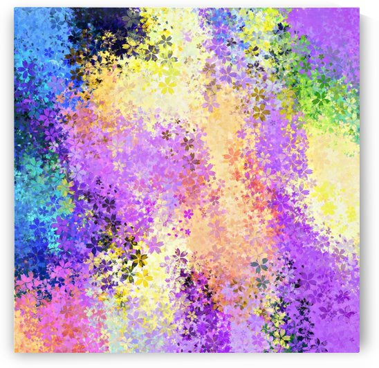 flower pattern abstract background in purple yellow blue green by TimmyLA