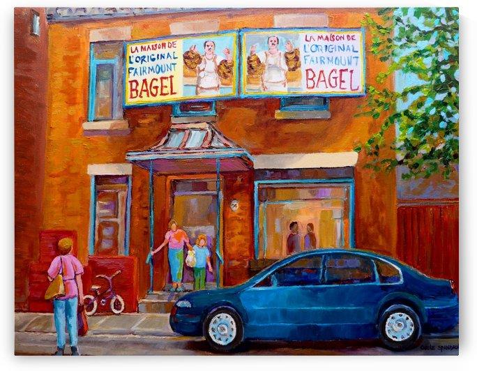 FAIRMOUNT BAGEL MONTREAL STREET SCENE by Carole  Spandau