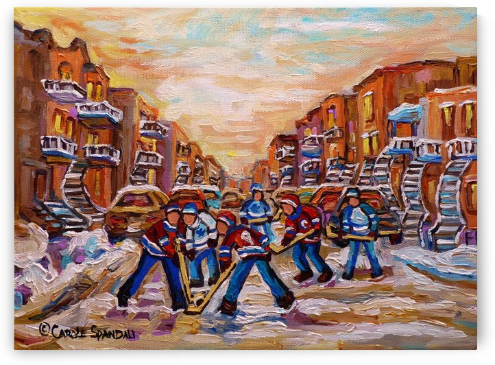 HOCKEY DAYS MONTREAL WINTER SCENE by Carole  Spandau