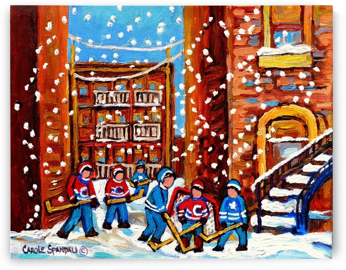 HOCKEY IN THE LANEWAY WITH SNOW by Carole  Spandau
