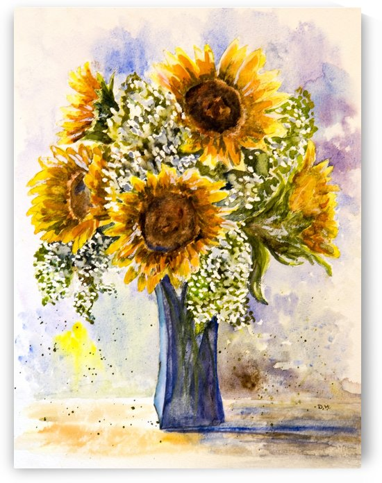 Sunflowers in a Blue Vase  by DHWebbArt