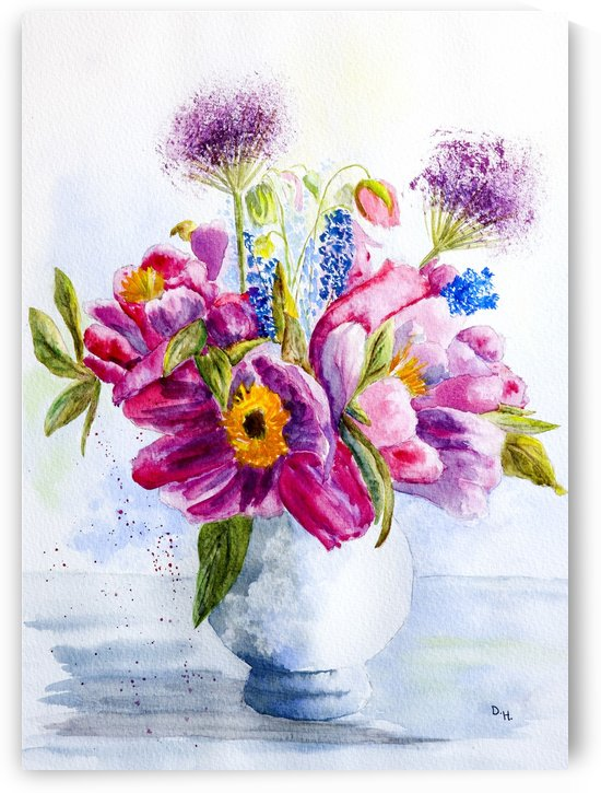 Summer Flowers in a China Vase  by DHWebbArt