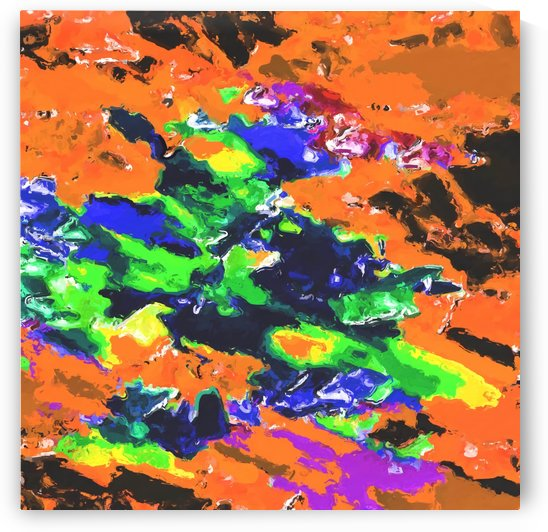 psychedelic splash painting abstract texture in brown green blue yellow pink by TimmyLA