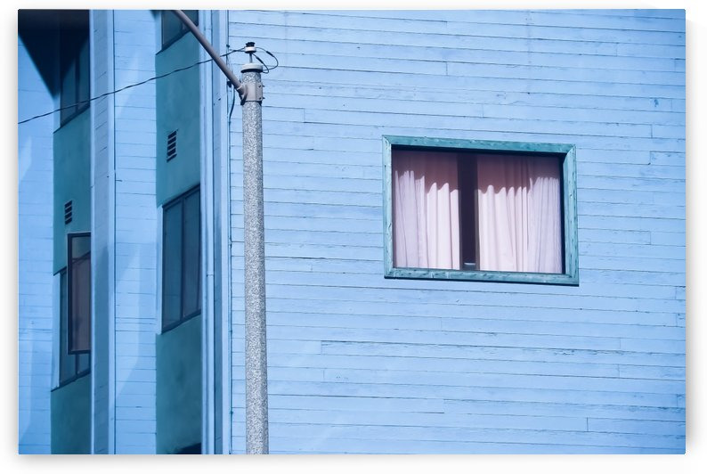 vintage blue wood building with window and electric pole by TimmyLA