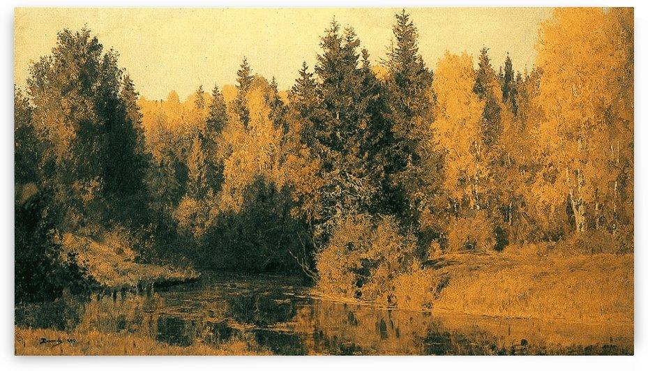 Golden autumn along a river by Vasili Dmitrievich Polenov