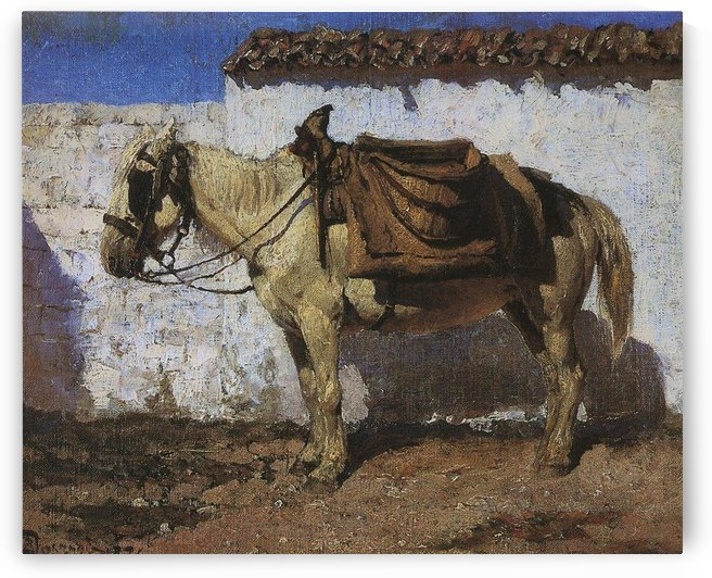 White horse in Normandy, 1874 by Vasili Dmitrievich Polenov