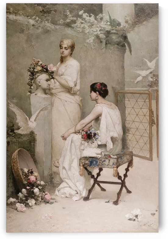 Two women crowning a statue of Antonius with flowers by Vasili Alexandrovich Wilhelm Kotarbinsky