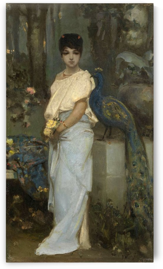 Portrait of a young lady with a peacock by Vasili Alexandrovich Wilhelm Kotarbinsky
