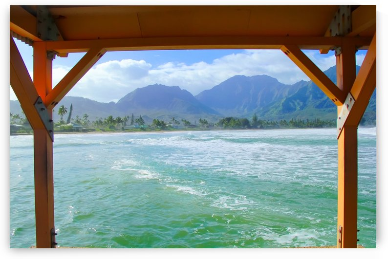 ocean view with mountain and blue cloudy sky background at Kauai, Hawaii, USA by TimmyLA