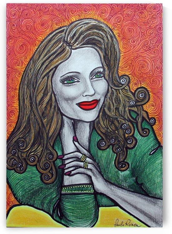 labios rojos fondo verde Ori by Paula Valeria Fridman