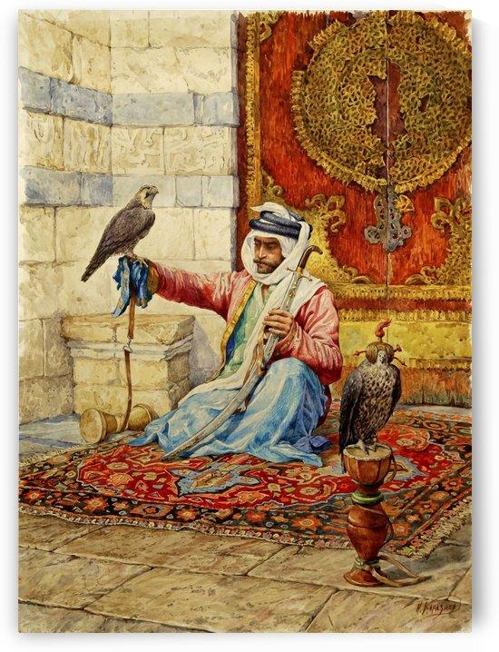 Arab falconer in a Moorish interior by Nikolai Nikolaevich Karazin