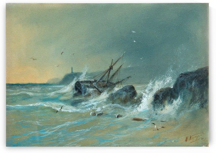 Boat with figures on a stormy sea by Nikolai Nikolaevich Karazin