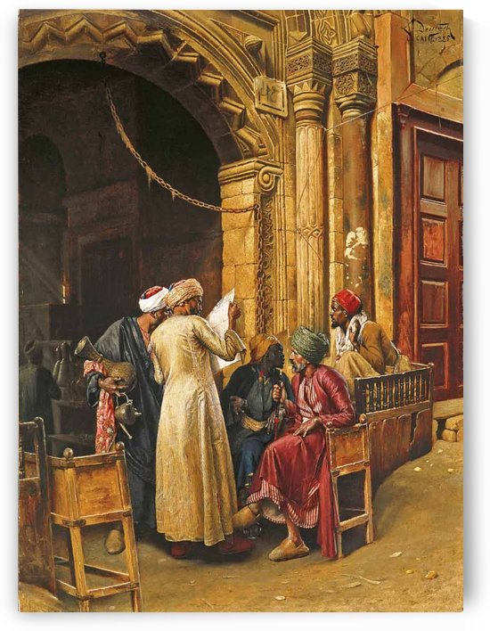 A gathering around the morning news, Cairo by Ludwig Deutsch