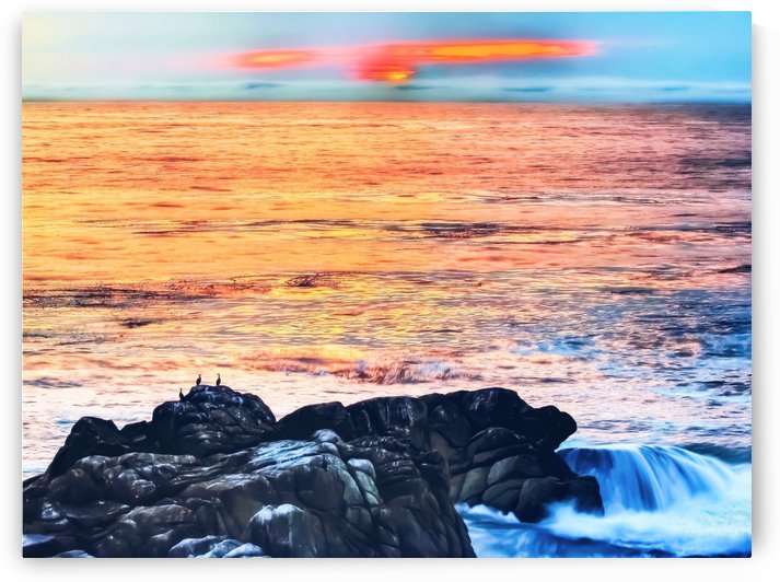 ocean sunset with sunset sky and horizon view in summer by TimmyLA