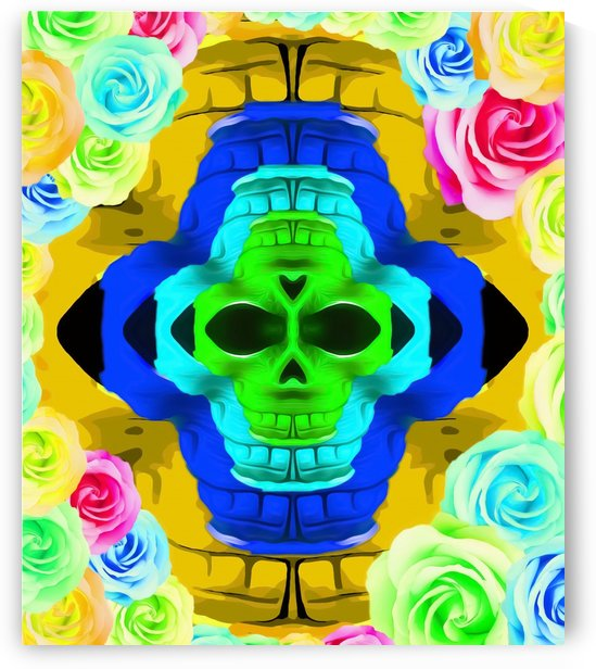 funny skull portrait with colorful roses in pink blue yellow green by TimmyLA