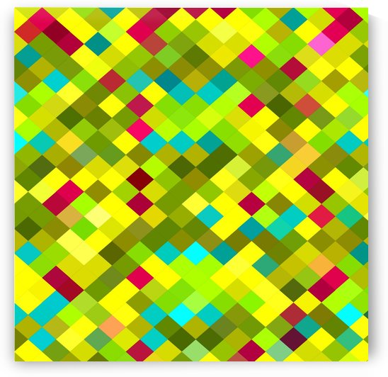geometric square pixel pattern abstract in yellow red green blue by TimmyLA