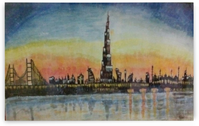 burj at night by Raja Hussain