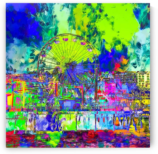 ferris wheel and buildings at Santa Monica pier, USA with colorful painting abstract background by TimmyLA