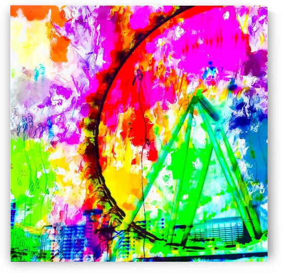 ferris wheel in the city at Las Vegas, USA with colorful painting abstract background by TimmyLA