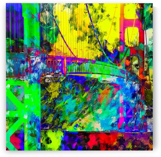 Golden Gate bridge, San Francisco, USA with colorful painting abstract background by TimmyLA