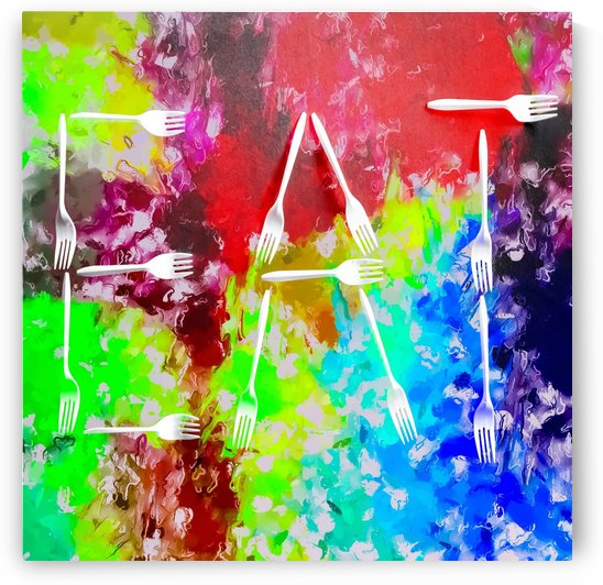 EAT alphabet by fork with colorful painting abstract background by TimmyLA