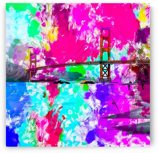 Golden Gate bridge, San Francisco, USA with pink blue green purple painting abstract background by TimmyLA