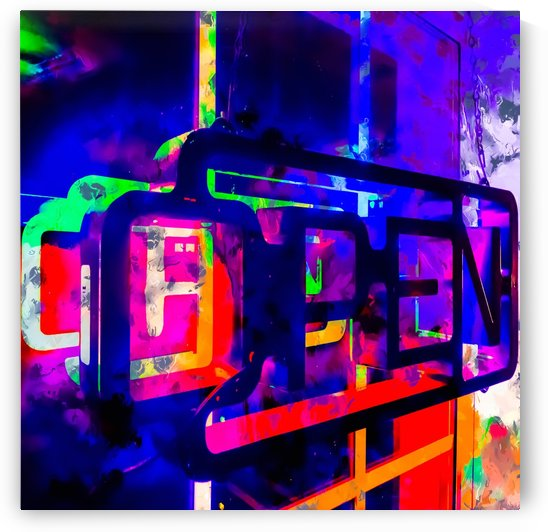 OPEN neon sign with pink purple red and blue painting abstract background by TimmyLA