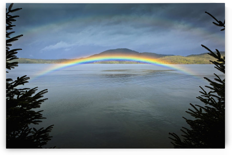 Low Arching Rainbow Over The Waters Of Clover Passage, Ketchikan, Southeast Alaska, Spring by PacificStock