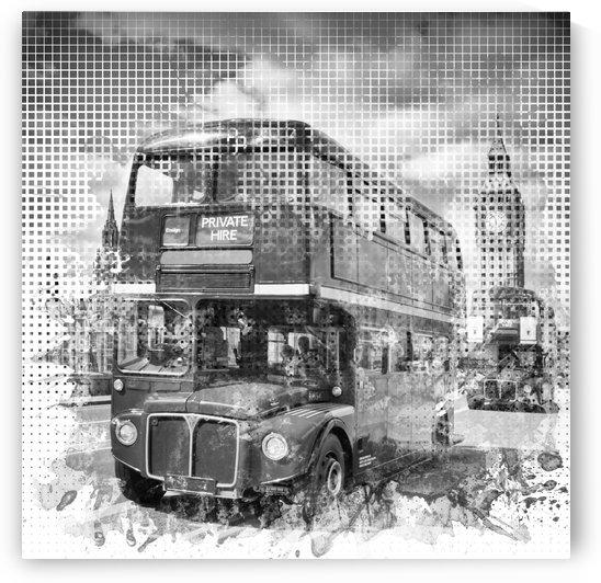 Graphic Art LONDON WESTMINSTER Buses | Monochrome by Melanie Viola