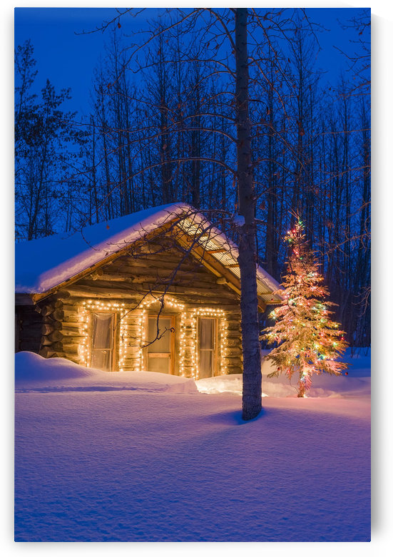 Historic Cabin @ Night In Wiseman Ak Ar Winter by PacificStock