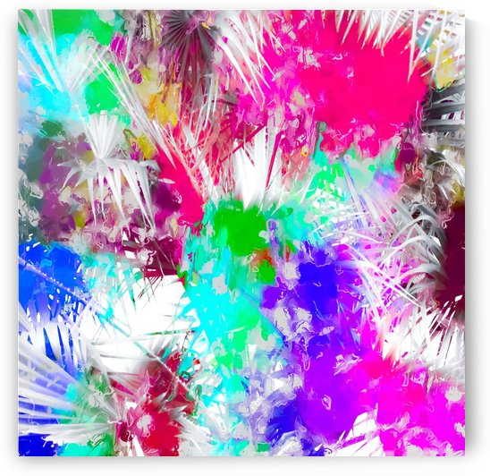 palm leaf with colorful painting abstract background in pink blue green purple by TimmyLA