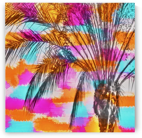 palm tree with colorful painting abstract background in pink orange blue by TimmyLA