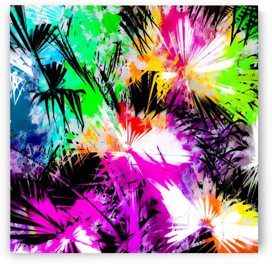 palm leaf with colorful painting abstract background in pink purple green blue yellow by TimmyLA